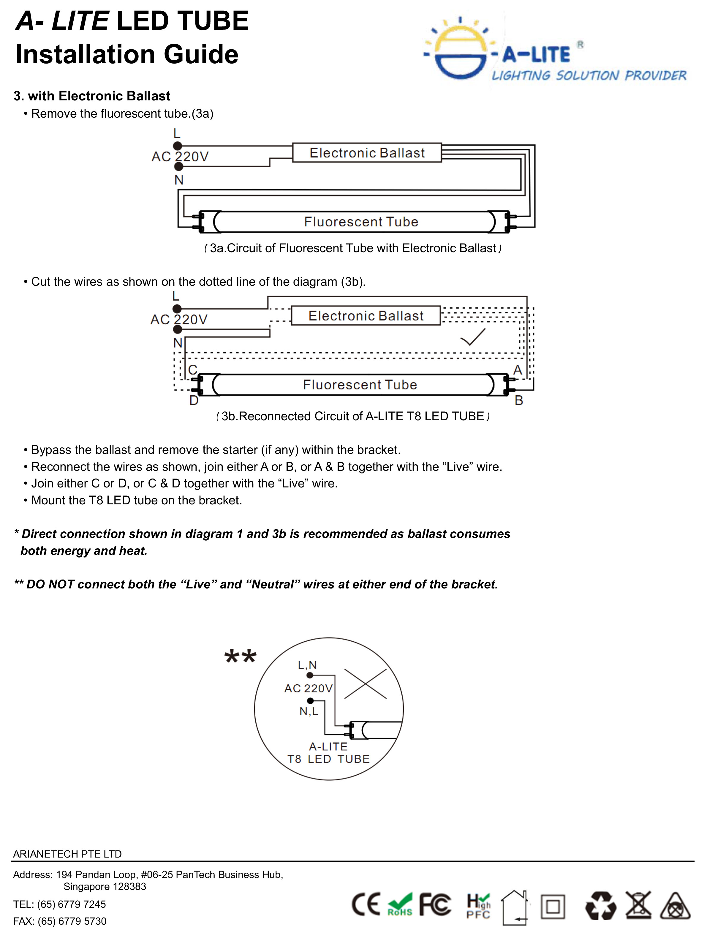 Led Tube Light Classic Series T8 18w 4 Feet 2 Foot Bulb Driver Wiring Diagram