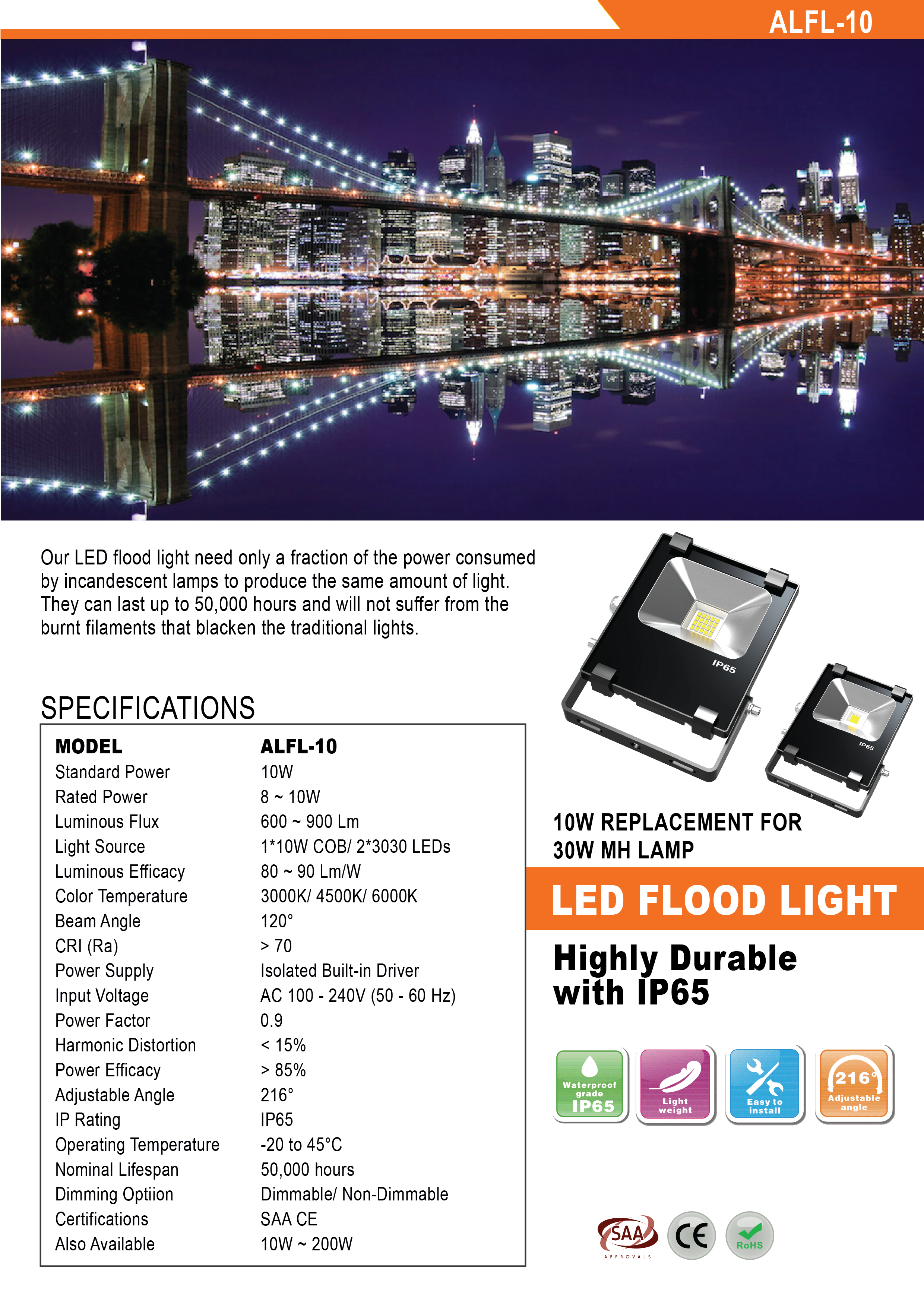 Led Floodlight 10w Flood Light Wiring Diagram Specifications Dimensions Correlated Cct Related Product